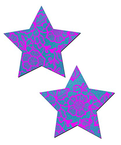 Blue Satin Star with Pink Flower Lace Nipple Pasties by Pastease o/s
