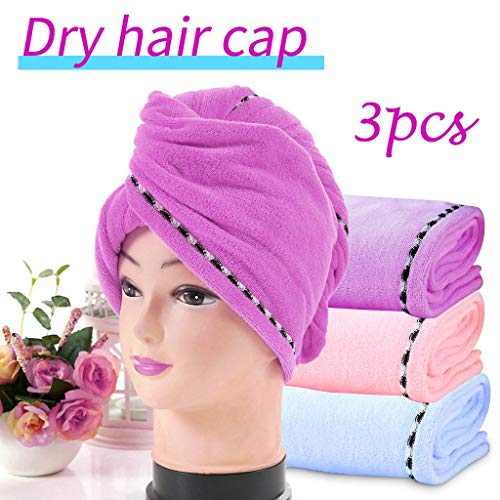 Nesee 3 Pack Hair Towel Wrap Turban Microfiber Drying Bath Shower Head Towel with Buttons, Quick Magic Dryer, Dry Hair Hat, Wrapped Bath Cap (Best Way To Care For Long Hair)