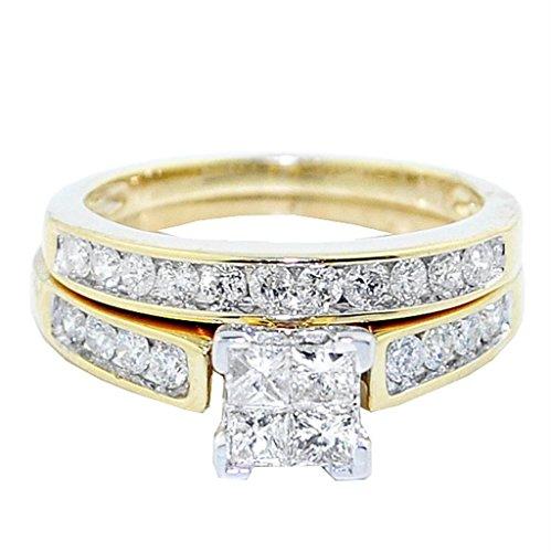 Midwest Jewellery 10K Yellow Gold Princess Cut Diamond Wedding Ring Set 1cttw 2pc Set