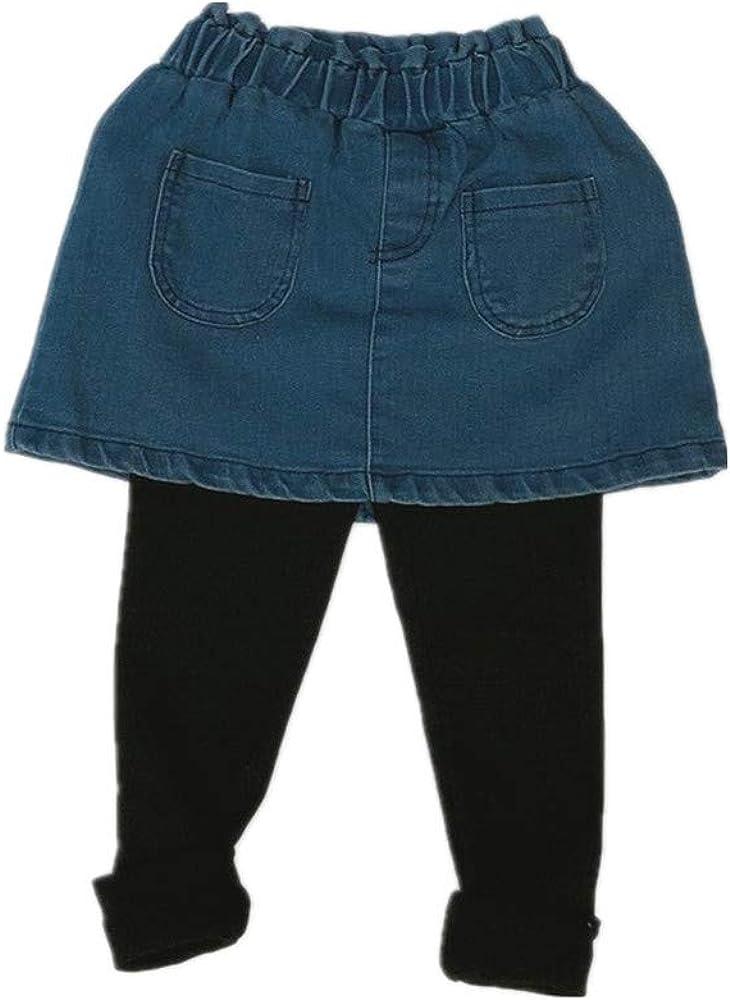 Beide Little Girls Footless Stretchy Leggings Denim Skirts with Pockets