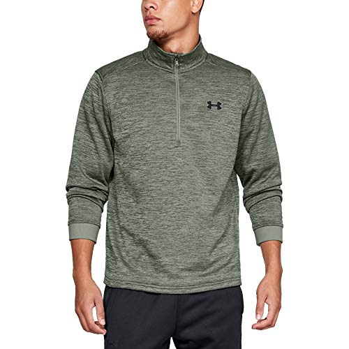 Fleece Mock Neck Pullover - Under Armour Men's Armour Fleece 1/2 Zip, Moss Green (492)/Black, Large