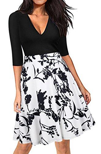 hasta la de de burbuja una cintura línea oscilación y vestido retro de de imperio Hepburn la de vestidos rodilla del White 50s los falda Rockabilly elegantes Audrey noche vestidos Scothen cóctel pqUaFvwx