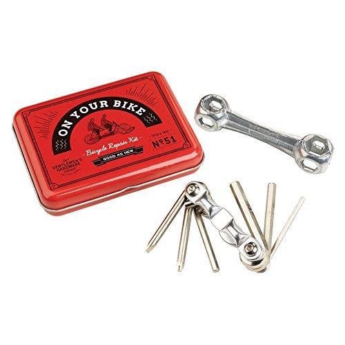 Gentlemens Hardware 15-Piece Essential Handy Bicycle Repair and Puncture Kit with Vintage Storage Tin