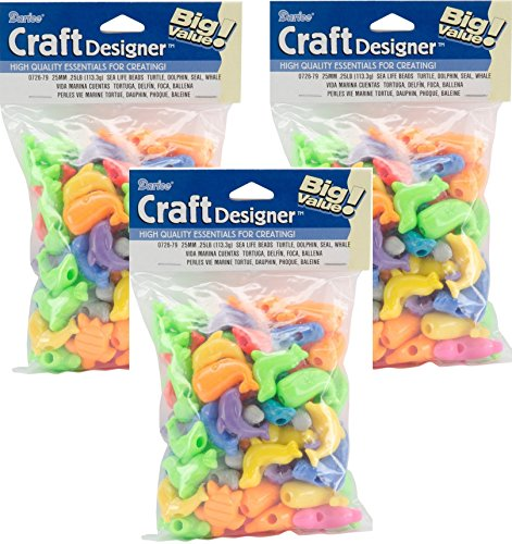 Fun Shapes Pony Beads 4oz-Sea Life - Turtle, Dolphin, Seal & Whale (3 - Dolphin Bead