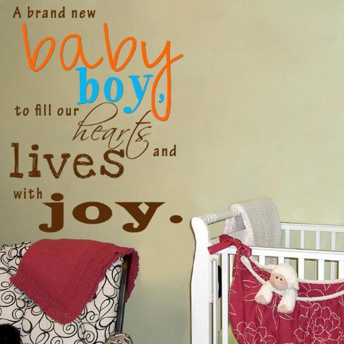 Pop Decors WL-0168-Vb Inspirational Quote Wall Decal, A Brand New Baby Boy