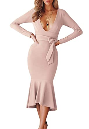 4fa2d3f724 Kathemoi Womens Bodycon Midi Dress V Neck Long Sleeve Elegant Cocktail Sexy  Party Dresses at Amazon Women's Clothing store: