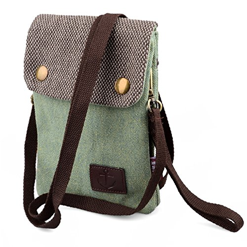 Hengying Canvas Mini Cross Body Phone Bag Universal Mobile Phone Pouch Purse with Wrist Strap for Women Girls Children for iPhone 7 Plus 6 Plus X 6S Galaxy Note 5 4 3 Mega 2 6.3 + Key Ring (Green) Light Green