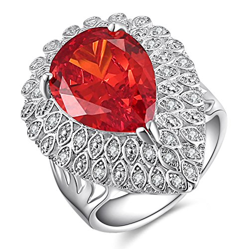 Simulated Ruby Cocktail Ring (Caperci Vintage Sterling Silver Diamond Accent Pear-Cut Created Ruby Ring Size 6)
