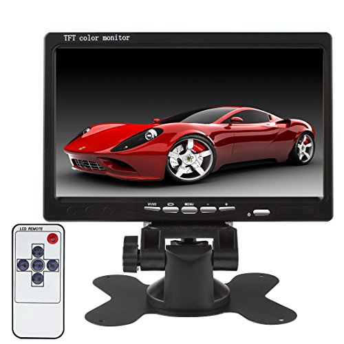 SallyBest® 7'' HD 800*480 TFT Color LCD Screen 2 Video Input Car Rear View Headrest Monitor DVD VCR Monitor with Remote Control and Stand Support Rotating The Screen