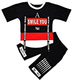 Toddler & Little Boys 2 Piece Clothing Set with Graphic Tee and Pull On Shorts Outfits, Black, Tag Size 140 = US 7-8Y/Height 55.1''