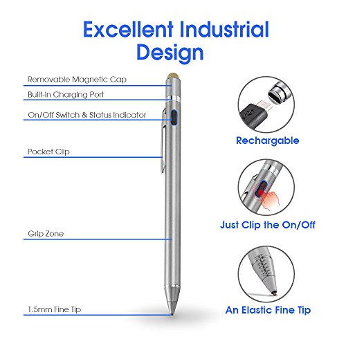 Evach 2 in 1 Electronic Stylus Digital Pen with 1.5mm Ultra Fine Tip for iPad iPhone Samsung Tablets, Work on Capacitive Touchscreen,Good at Drawing and Writing, Grey by Evach (Image #6)