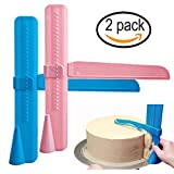 Cake Scraper Smoother Adjustable Edge Tool Icing Polisher Plastic Butter Cream Decorating for Christmas Wedding Birthday (2 pack)
