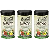 Survival Seed Vault Non-GMO Hardy Heirloom Seeds for Long-Term Emergency Storage – 20 Variety Pack in a Sturdy Can (3 PACK)