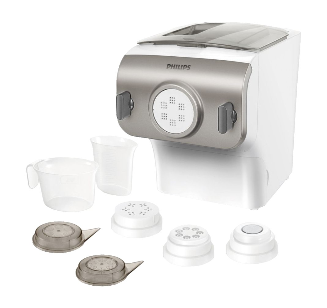 Philips Pasta and Noodle Maker with 4 Interchangeable Pasta Shape Plates - HR2357/05 by PHILIPS