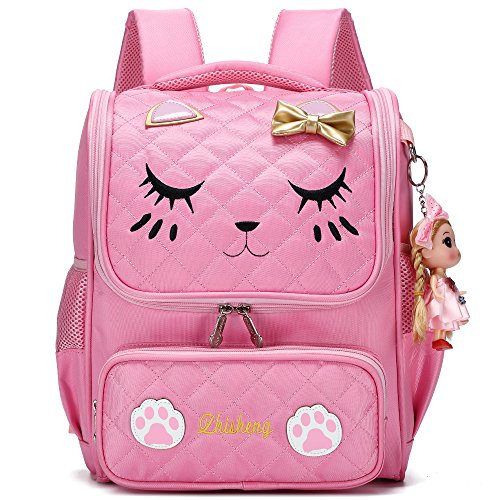 Waterproof Princess School Backpacks for Girls Cute Kids Book Bag Travel Daypack (Small, Pink)