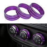 Danti 3pcs Audio Air Conditioning Button Cover Decoration Twist Switch Ring Trim for Jeep Wrangler JK JKU Compass Patriot 2011-2016 (Purple)