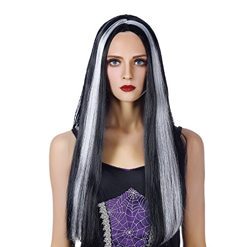 Free beauty Long Witch Cosplay Wigs-Heat Resistant Synthetic Costume Halloween Party Full Vampire Hair Wig for Girls Women (White and Black) for $<!--$10.99-->