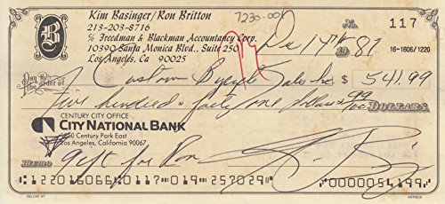 KIM BASINGER signed bank check