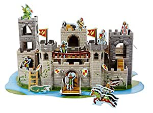 Melissa & Doug Medieval Castle 3-D Puzzle and Play Set - Dragon and Knights (100 pcs)