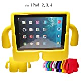 iPad 2,3,4 Kids Case,Y&M(TM) Kids Proof EVA Foam Drop-proof Shockproof iPad Cover Case with Kickstand Kids Safety Protective Tablets Shell MID Case for Apple iPad 2nd 3rd 4th Generation Yellow