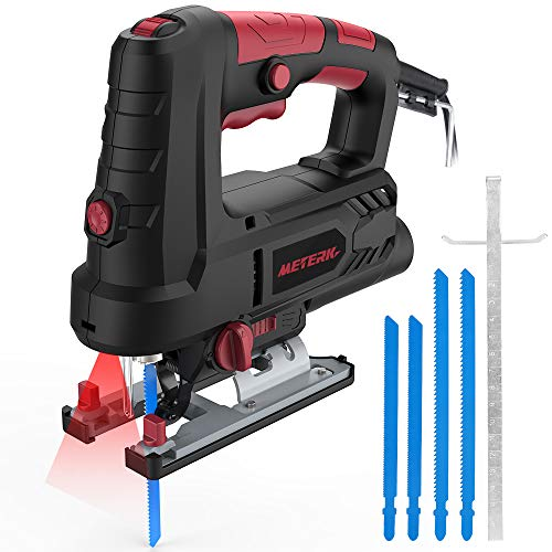 Jigsaw, METERK Advanced 6.7 Amp 3000 SPM Jigsaw with Laser & LED, 800W Variable Speed with 78.74 Inches Cord, Scale Ruler, Bevel Cutting Angle(-45°-45°)