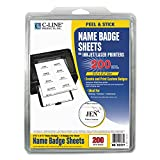 C-Line 92377 Laser Printer Name Badges, 3 3/8 x 2 1/3, White, 200/Box