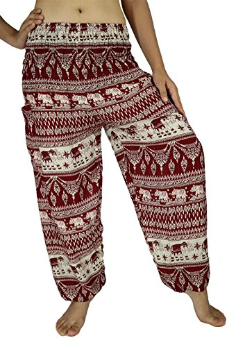 City Style Ankle Pant (Lek Boutique Womens Elephant Art Print Harem Trousers Hippie Boho Harem Pants Smocked Waist 21-38 Inchs with 2 Pockets 100% Rayon US Size 0-14 (AB Red))