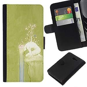 KLONGSHOP // Tirón de la caja Cartera de cuero con ranuras para tarjetas - Primavera Chica Naturaleza Significado Profundo - Sony Xperia M2 //