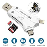 SD Card Reader, RayCue 4 in 1 i Flash Drive USB Micro SD &TF Card Reader Adapter for iPhone iPad Mac Android (White)