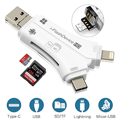 SD Card Reader, RayCue 4 in 1 i Flash Drive USB Micro SD &TF