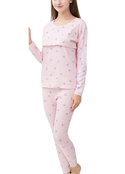 100% Mujeres Algodón Mujeres embarazadas Lactancia Robe, Mangas largas Pijama Establecer Mariposa O Nubes