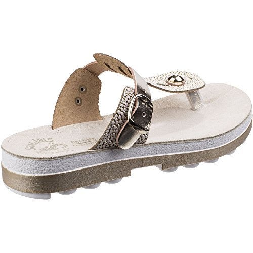 Fantasy Womens/Ladies Mirabella Buckle Up Flip Flop Summer Sandals Gold Caviar wxR3WONI