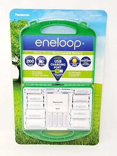 Panasonic Eneloop Rechargeable Battery Kit/Set 6 x AA, 4 x AA, with C and D adapters ()