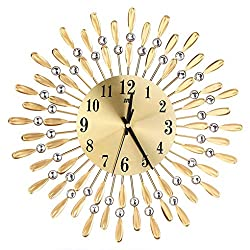 Sun Shaped Round Rhinestone Metal Clock Home Office Shop Decorative Crystal Hanging Clock