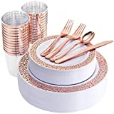175 Pieces Rose Gold Disposable Plates with Plastic Silverware and Rose Gold Cups, Elegant Laced Plastic Plates, Include: 25 Dinner Plates 10.25'', 25 Salad Plates 7.5'', 25 Cups, 50 Forks, 25 Knives,