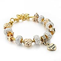 "Long Way Gold Plated Snake Chain Glass Crystal Beads ""I Love You"" Charm Beaded Bracelets for Women"
