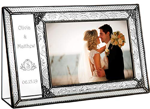 (J Devlin Pic 393-46H EP610 Personalized Wedding Picture Frame Engraved Glass 4 x 6 Photo Vintage with Monogram)