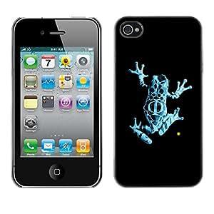 Cubierta de la caja de protección la piel dura para el Apple iPhone 4 / 4S - Neon Blue Jungle Fringe Frog