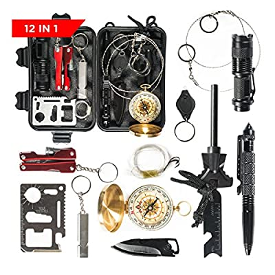 Patch-Up Survival Kit Contains 12 Lifesaving Emergency Tools for Home, Outdoors Hiking Camping Disaster Preparedness & Wilderness Adventures. Compact Shockproof & Waterproof Case by Patch Up Products LLC
