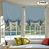 picture sun shade - Thermal Insulated Blackout Tie Up Curtains Adjustable Window Shade for Living Room, Rod Pocket 2-Pack, 42 x 63 Inch Long - Solid in Stone Blue from H.Versailtex