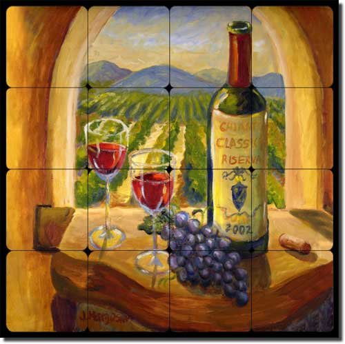 - Chianti View by Joanne Morris Margosian - Wine Grape Tumbled Marble Tile Mural 16