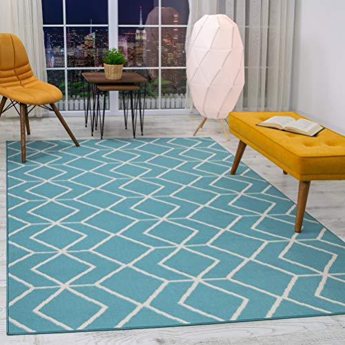 Antep Rugs Kashan King Collection Trellis Polypropylene Area Rug (Blue/Cream, 5' x 7') (Inexpensive Patio Outdoor Rugs)