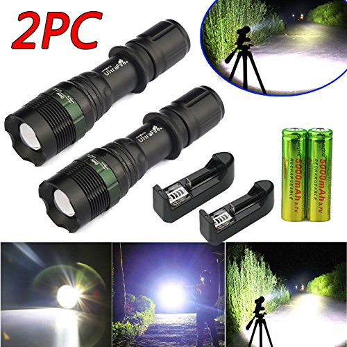 2xtactical 5000 Lumen T6 Led Flashlight Torch Black Rechargeable 18650 Battery Charger 3 Modes Adjustable Brightness Skid-Proof Design Reflector Convex Lens Brand - Website Singapore Of Official