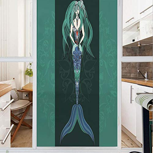 (Decorative Window Film,No Glue Frosted Privacy Film,Stained Glass Door Film,Hand Drawn Mermaid on Ornate Mandala Backdrop Fantasy Design,for Home & Office,23.6In. by 35.4In Jade Green Dark Green Viole)