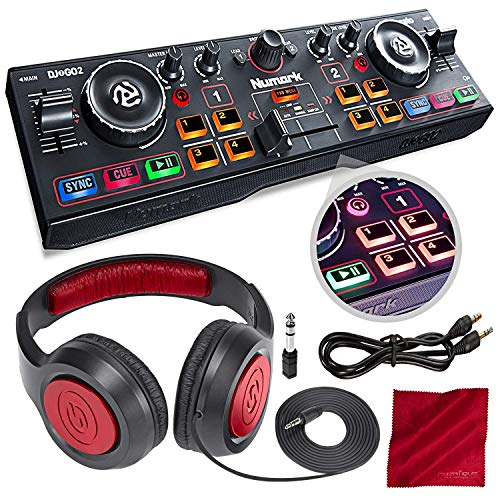 Numark DJ2GO2 Pocket DJ Controller with Audio Interface and Headphones Accessory Bundle