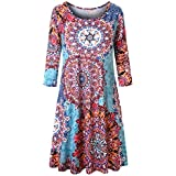 Misheep Tunic Dresses for Women Plus Size Ladies Dress Long Tunic Dress Pockets 3/4 Sleeve Maxi Dresses Formal Wrap Sexy Flapper Boho Beach Flowy Shift 50s Floral Flower Pattern Dress 2X