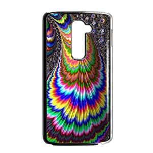 Colorful Peacock Feather LG G2 Cell Phone Case Black LMS3881278