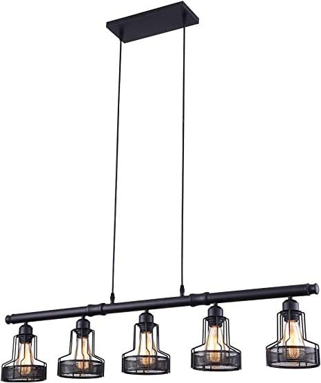 Mirrea Rustic Kitchen Island Lights 5 Lights Ceiling Light Fixture Black Painted
