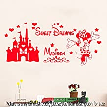 Disney Minnie Mouse Sweet Dream Removable Personalized Name Vinyl Wall Art Stickers Castle Mural