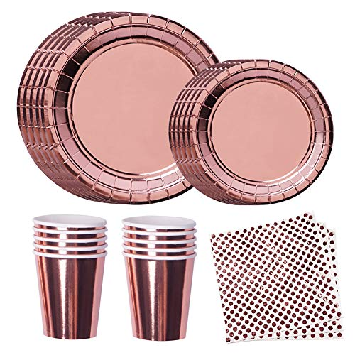 Disposable Dinnerware Set Rose Gold Party Supplies Elegant Foil paper plates, napkins, cups for Kids Birthday, Graduation, Wedding etc for 24 -